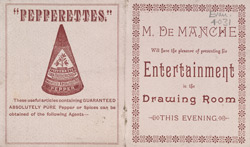 Advert for M De Manche, entertainer
